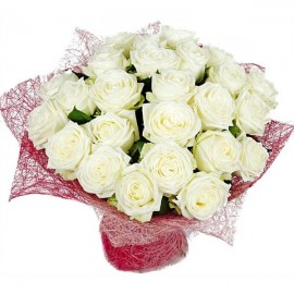 Bouquet of 25 white roses Polaris
